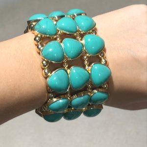Gold and turquoise fashion bracelet